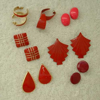 Lot of 7 Red Earrings Post Style Enamel Jewelry