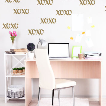 Hugs and Kisses Wall Decal XOXO Wall Decor Valentines Day Decor Wedding Decor XOXO Dorm Decor XOXO Nursery Wall Decor