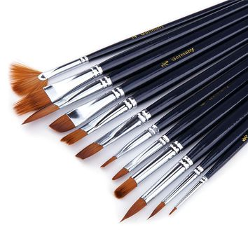 12pcs/Set Nylon Paint Brush Oil Painting Brush Acrylic Paint Brush for Student Artist Art for Supplies Water Color Tool Gift