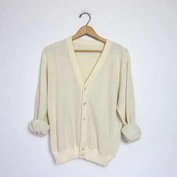 White Cardigan Grandpa Cardigan Sweater 80s Cream Button Up Slouchy 70s Hipster Vintage Retro Oversize Plain Simple Men Grunge Medium Large
