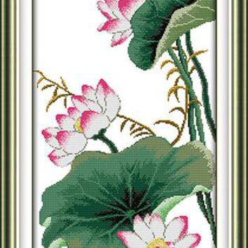 Flowers Autumn Lotus Canvas DMC Cross Stitch Kits Art Crafts Accurate Printed Embroidery DIY Handmade Needle Work Home Decor