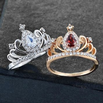 Luxury  Queen Crown Princess Wedding Ring  Gifts