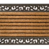 "Door Mat, 1'10""x3' Classic Coir/Rubber Mat, Black, Door Mats"