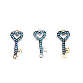 Magic Fish Heart-shaped key pendant diy necklace Cubic zirconia blue Copper Charms pendant making necklaces for couple Christmas