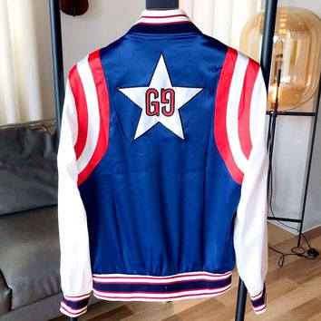 """GUCCI 2019 new behind the stars """"double G"""" embroidery LOGO jacket"""