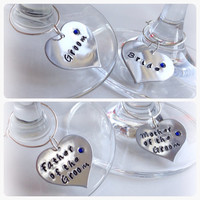 Hand stamped personalised wine glass charm wedding favour