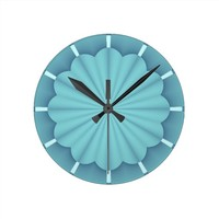 Blue Metallic Abstract Flower Round Clock