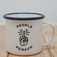 People Person Middle Finger Enamel Camping Coffee Mug in White and Navy