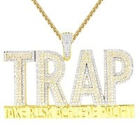 Men's Trap Double Layer Risk Hustler Iced Out Custom Pendant