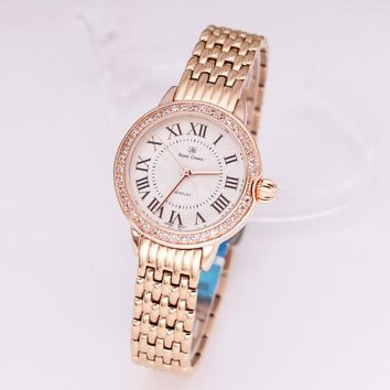 Luxury Jewelry Lady Women's Watch Fine Fashion Hours Stainless Steel Bracelet Rhinestone Gold Plated Girl Gift Royal Crown Box