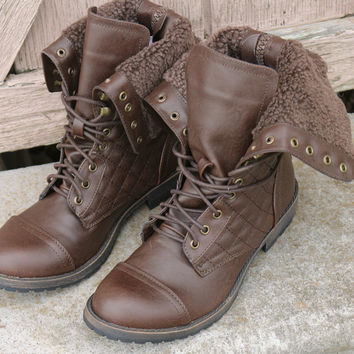 All My Days Brown Zip & Lace Up Quilted Combat Boot