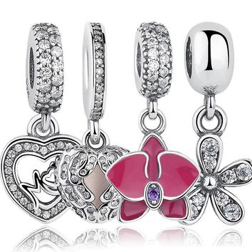 925 Sterling Silver Angel Wings Radiant Orchid Dazzling Daisy Pendants & Charms Fit Pa