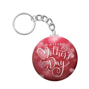 Modern Red White Hearts Happy Mother`s Day Keychain