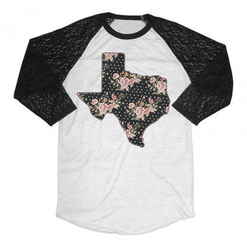 Women's - Texas floral Burnout shirt with Lace Sleeves