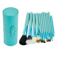 Blue 12 Pice Cosmetic Makeup Brush Set With Leather Brush Holder