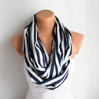 Infinity Scarf - Loop Scarf - Circle Scarf - Cowl Scarf - Nautical - White and Blue Striped
