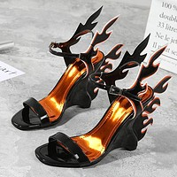New high-heeled summer women's shoes with large-sized white shoes and flaming sandals Black
