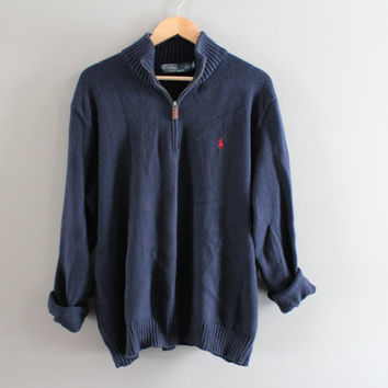 Ralph Lauren Sweater Henley Navy Blue Sweater Zip Up Plain Pullover Polo Sweater Unisex Knit Minimalist Vintage 90s Size L - XL