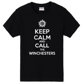 Keep Calm And Call The Winchesters T-Shirts - Women's Crew Neck Top Tees