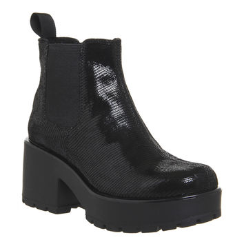 Vagabond Dioon Elastic Chelsea Boot Exclusive Black Embossed Leather - Ankle Boots