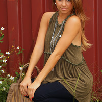 In For The Night Top: Olive Green