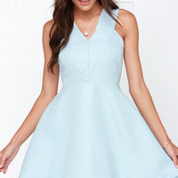 Incurably Romantic Light Blue Skater Dress
