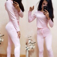 ONETOW Sleeve Shirt Sweater Pants Sweatpants Set Two-Piece Sportswear