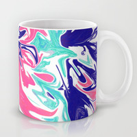 Bright Marbling Print, Pink, Teal, & Blue Mug by TigaTiga Artworks