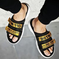 Off White More Letters Two Line Men Slippers B-CSXY  Black+Gold
