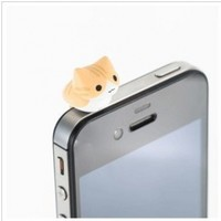 1pcs Cheese Cat 3.5mm Anti Dust Earphone Jack Plug Stopper Cap for Iphone HTC