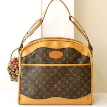 CREYON Louis Vuitton Bag Very Rare Vintage Luggage Travel Brown Monogram Shoulder Handbag Aut