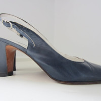 70s/80s Navy Blue Italian Slingback Heels, US 7,5 EUR 38 UK 5 // Vintage High Heel Dress Pumps
