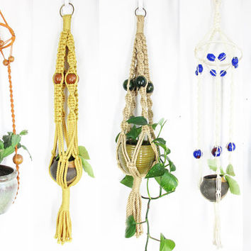 Vintage Macrame Plant Hanger / 70s Hanging Planters -- Your Pick