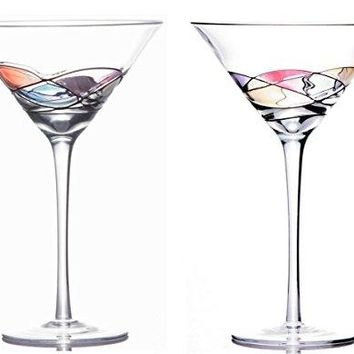Sonoma Artisan Stemware, Handcrafted and Painted Martini Glasses, Set of 2, Unique and Special Gift Idea