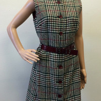 Mod Dress Vintage 60s Sleeveless 1960s S Houndstooth