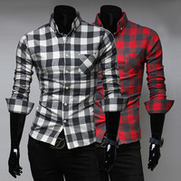 Plaid Pattern Men's Dress Shirt