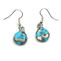 Artisana Turquoise and Abalone Slices Alpaca Silver Earrings