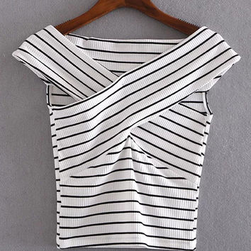 Black And White Striped Crisscross Front Crop T-shirt