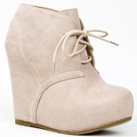 Bamboo DEBRAH-01N Basic Lace up Hidden Platform Wedge Heel Ankle Boot Bootie