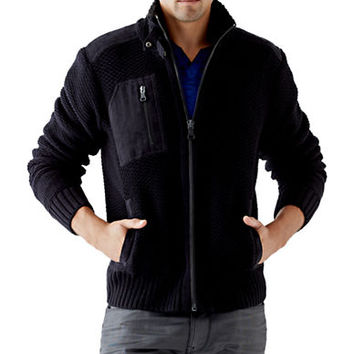 Guess Dawson Textured Zip Up Cardigan