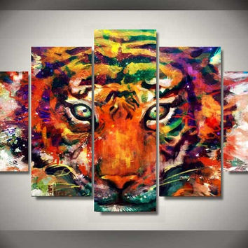 Abstract Tiger 5-Piece Wall Art Canvas