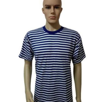 Marine Navy Striped Short Sleeve T-shirt Telnyashka Sailor T-shirt