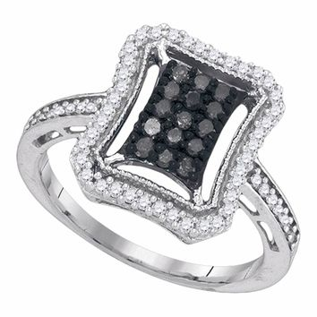 10kt White Gold Womens Round Black Color Enhanced Diamond Rectangle Frame Cluster Ring 1/2 Cttw