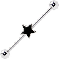 Silver 925 Black Star Industrial Barbell Earring | Body Candy Body Jewelry