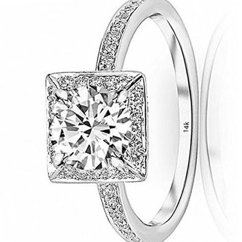 d.1.15 Carat 14K White Gold Victorian Halo Square GIA Certified Round Cut Diamond Engagement Ring (0.9 Ct D Color VS1 Clarity Center Stone)