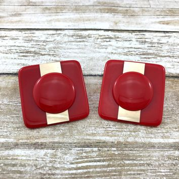 Big Retro Red Plastic Square Earrings. Super Hot Bright Cherry Red Lucite.
