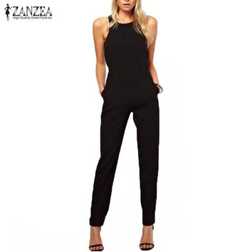 Bohemian  Summer Rompers Womens Jumpsuit Ladies Casual Elegant Sleeveless Long Trousers Overalls Black Jumpsuit Plus Size