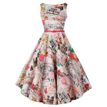 Floral Sleeveless Sheath Belted Tent Midi Dress