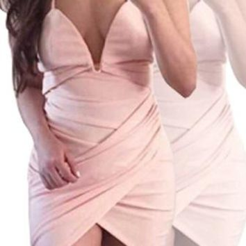 Living For Love Pink Sleeveless Spaghetti Strap V Neck Cross Wrap Ruched Asymmetric Bodycon Mini Dress