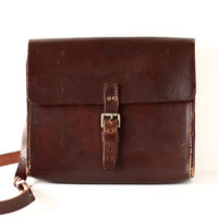 Vintage Leather Messenger Bag - Small Leather Satchel